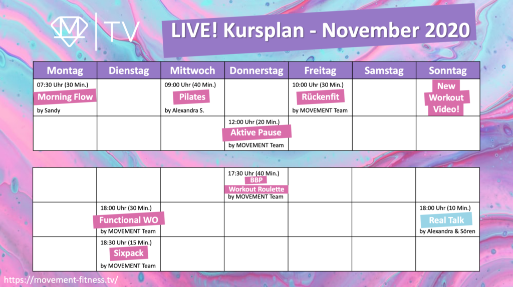 LIVE Workouts November 1024x574 - LIVE Workouts kostenfrei mitmachen auf MOVEMENT FITNESS TV